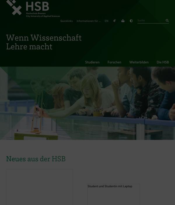 website preview - Hochschule Bremen Bewerbung