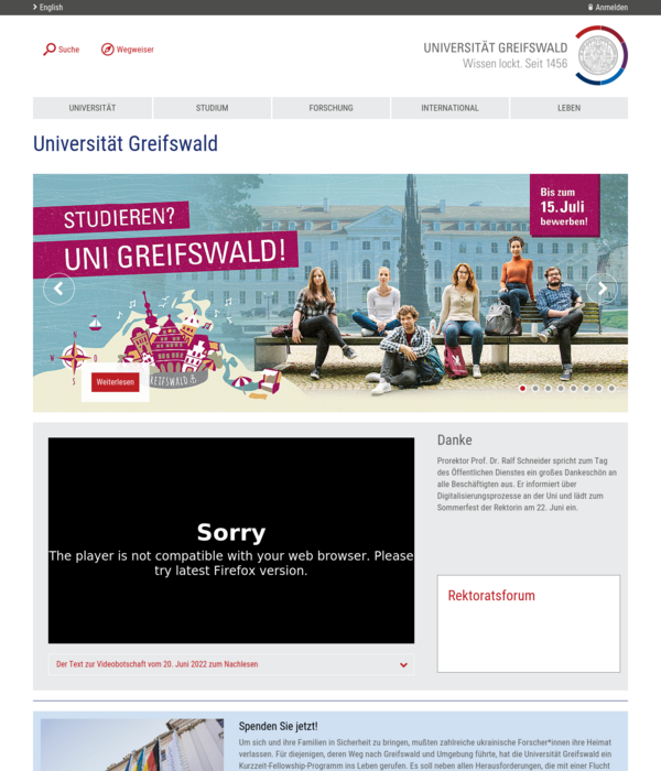 website preview - Uni Greifswald Bewerbung