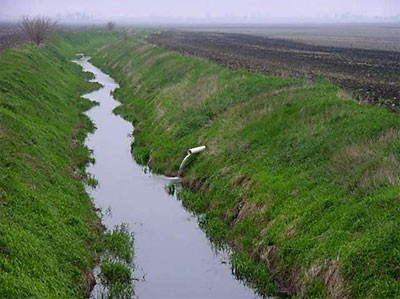 Tile drainage system flowing into a drainage ditch between agricultural fields i