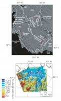 Bottom Image: This radar image of bedrock elevation reveals the new sub-glacial