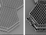 Scanning electron microscopy images of the structures fabricated by (left) 2PP a