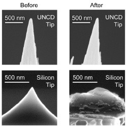 Images of the researchers' diamond tips compared to traditional silicon ti