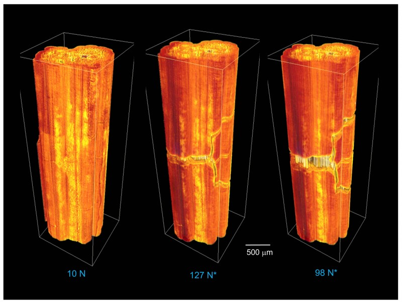 These CT scans showing the formation of microcracks in ceramic composites under