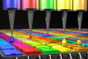 In this illustration, the Quantum Dot (QD) spectrometer device is printing QD fi