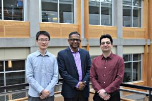 The UW electrical engineering research team includes Baicen Xiao, Radha Poovendr