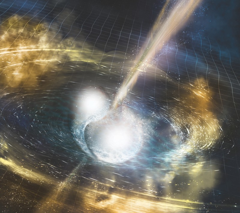 Artist's illustration of two merging neutron stars. The rippling space-tim