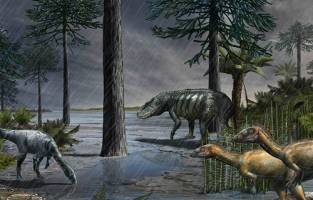 A life-scene from 232 million years ago, during the Carnian Pluvial Episode afte