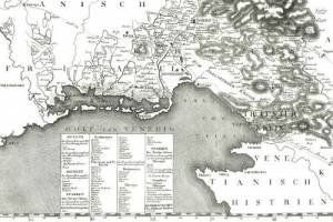 18th century map of the Inner Austrian districts of Görz and Trieste created bet