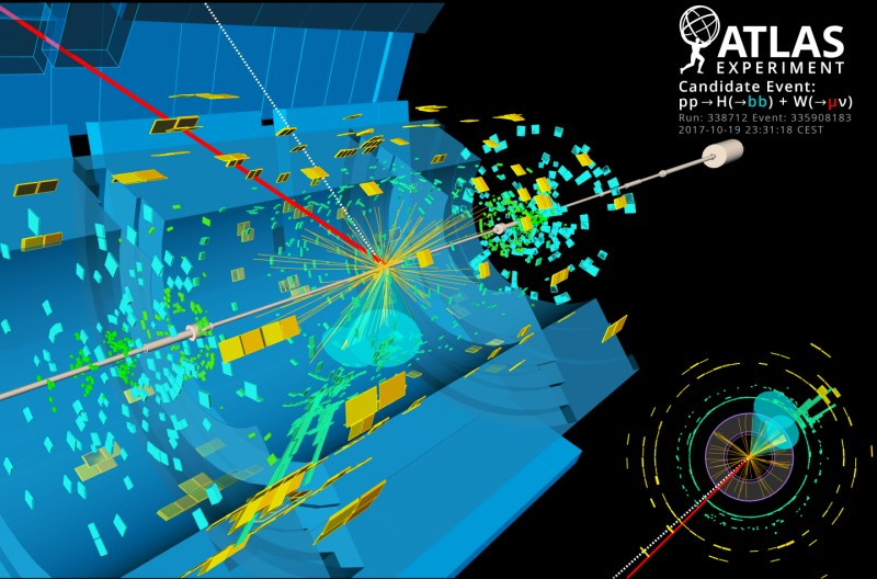 An ATLAS candidate event for the Higgs boson (H) decaying to two bottom quarks (