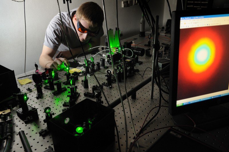 Stefan Lerch is adjusting the source of energy entangled photons, which was us