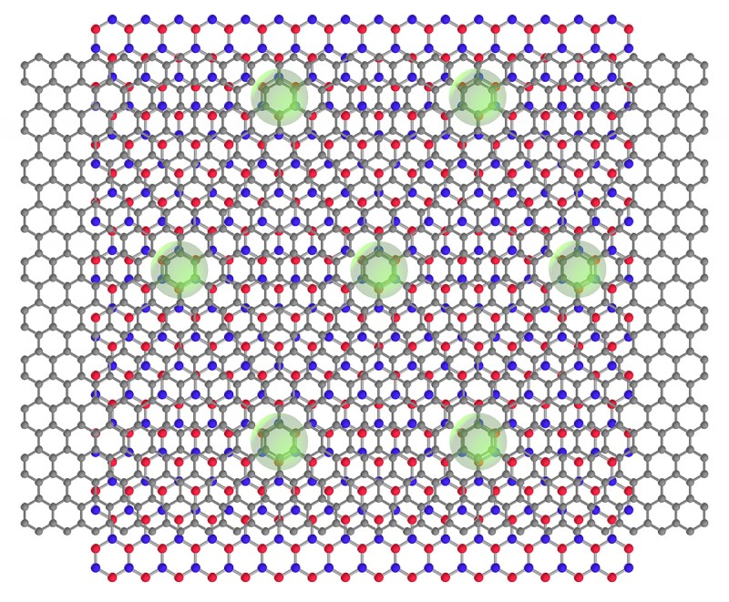Schematic of graphene/boron nitride moire' superlattice superconductor/ins