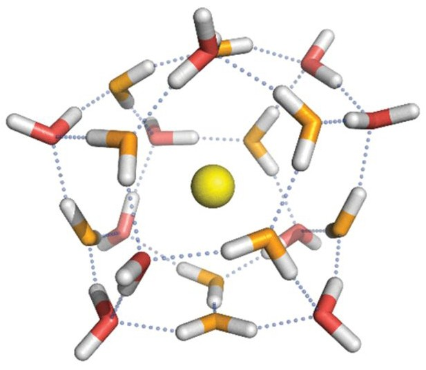 Structure of 20 water molecules surrounding a cesium ion (yellow, center). In th