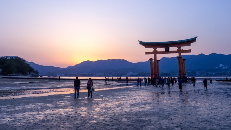 Researchers collected and studied beach sands from locations near Hiroshima incl