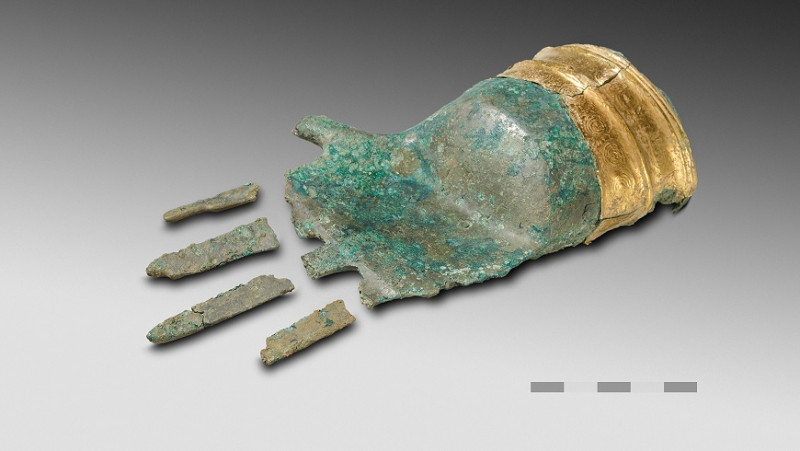 The bronze hand of Prêles including a finger found later in the tomb. Image: P.