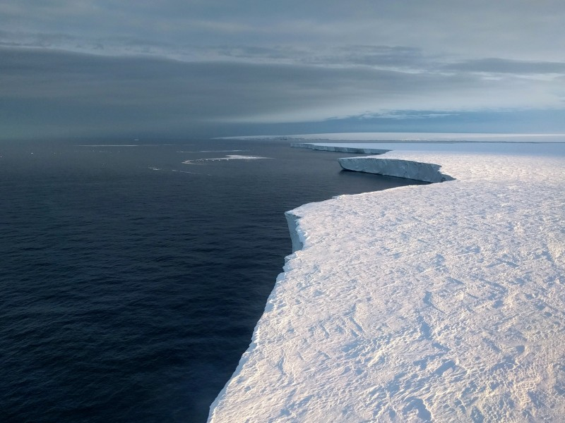 An aerial view of Getz ice shelf in West Antarctica taken from a helicopter in J