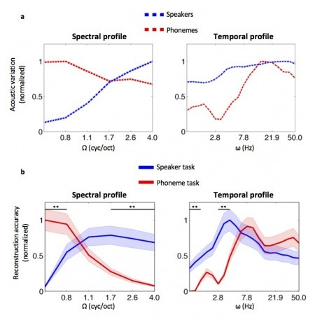 On top: Analysis of main acoustic parameters underlying differences in the voice
