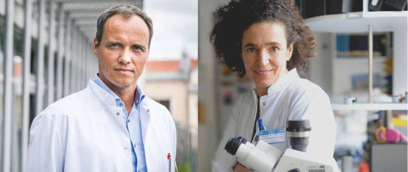 Markus Gerhard (left), is an expert on the bacterium Helicobacter pylori, Claris
