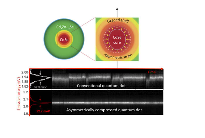 Novel colloidal quantum dots are formed of an emitting cadmium/selenium (Cd/Se)