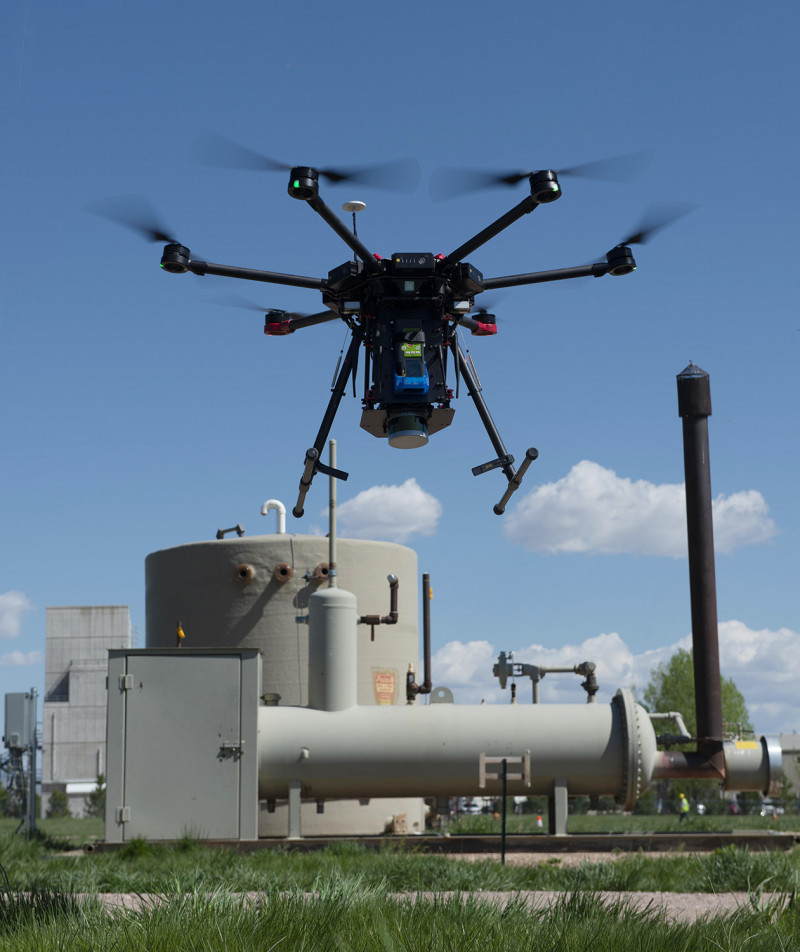 A drone sniffs for methane leaks in the Mobile Monitoring Challenge at the test