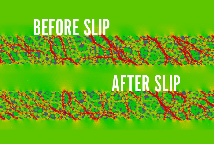 These before and after simulations show the collapse of a stress chain after a l