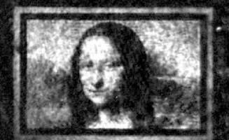 The researchers' rendition of the famous Mona Lisa, approximately 100 micr