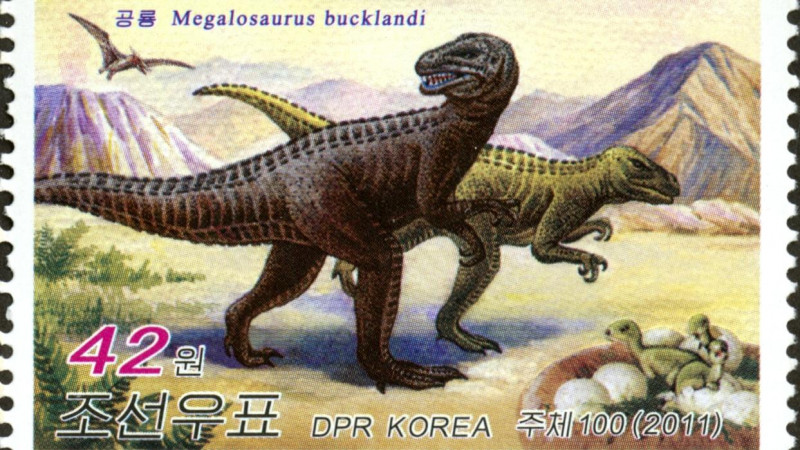A 2011 North Korean stamp depicts Megalosaurus bucklandi, a carnivorous Jurassic