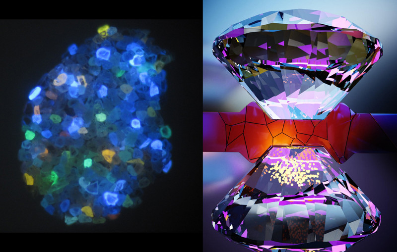 At left, natural diamonds glow under ultraviolet light owing to their various ni