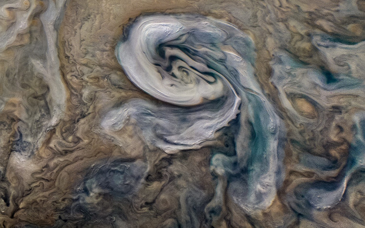 Cyclone observed in Jupiter's northern hemisphere by JunoCam in July 2018.