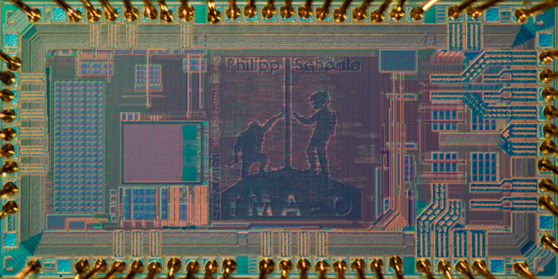 The integrated circuit (chip) measures only 2.2 millimetres by 1.1 millimetres a