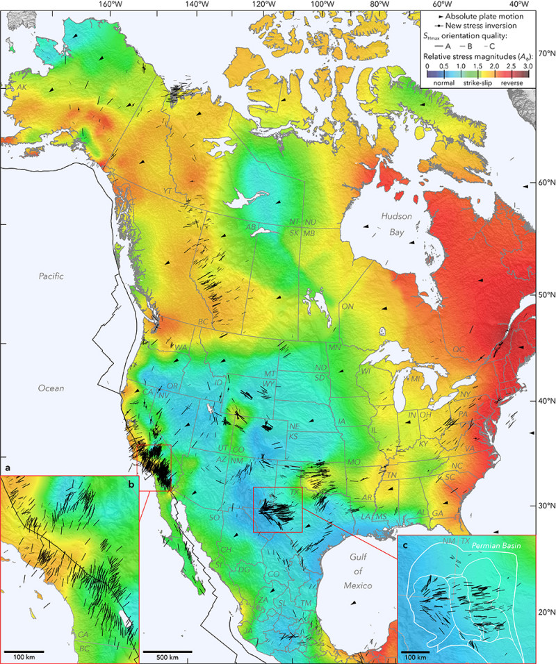 This new-generation stress map of North America includes the first view of the s