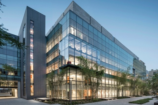 The MIT.nano building, at the center of campus adjacent to the Great Dome, has e