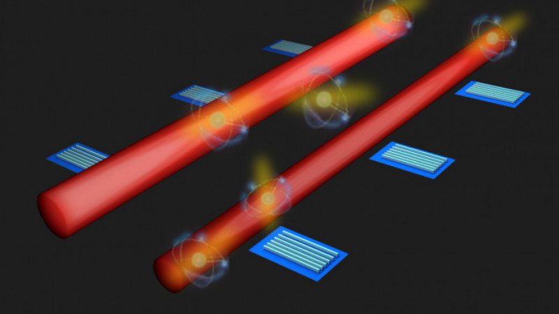 Artist's impression of a system of detectors along quantum circuits to moni