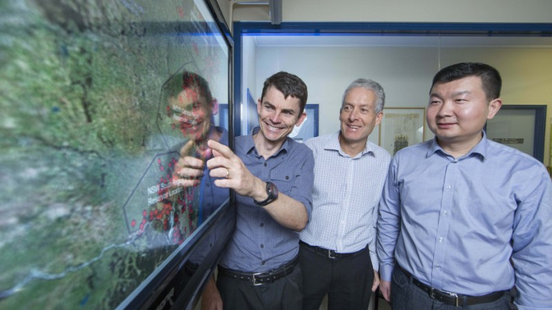 Dr Matthew Stocks,   Andrew Blakers and Bin Lu (left to right). Image credits: A