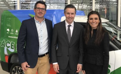 From left, UQ's Dr Michael Heitzmann, Mark Butler MP, and UQ's Dr Na