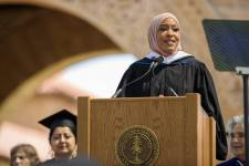 Ibtihaj Muhammad, activist, entrepreneur and Olympic medalist, gives the Baccala