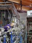 PSI researcher Patrick Hemberger at the VUV beamline of the Swiss Light Source S