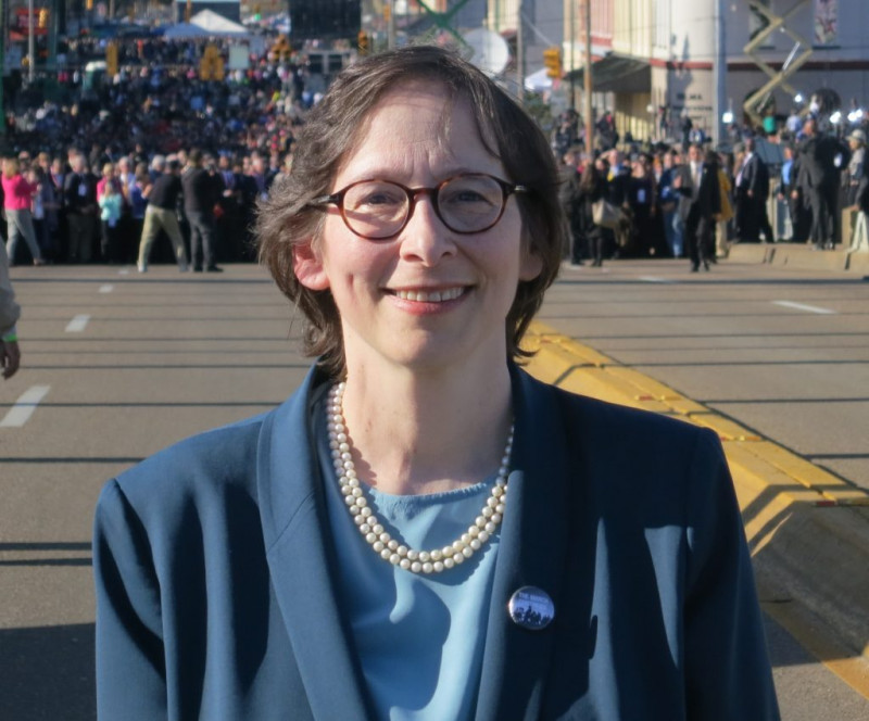 Stanford Pamela S. Karlan on the Edmund Pettus Bridge in Selma, Alabama, during