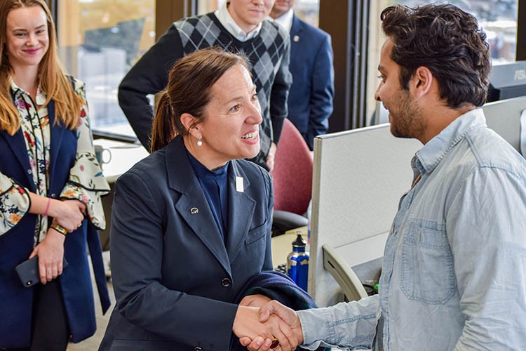 Eleni Kounalakis (left) met with Berkeley senior Akbar Khan at SkyDeck, one of U