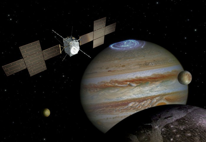 Artist's impression of the JUICE mission exploring the Jupiter system