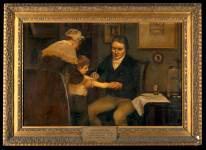 Edward Jenner performing his first vaccination, on James Phipps, a boy of 8. May