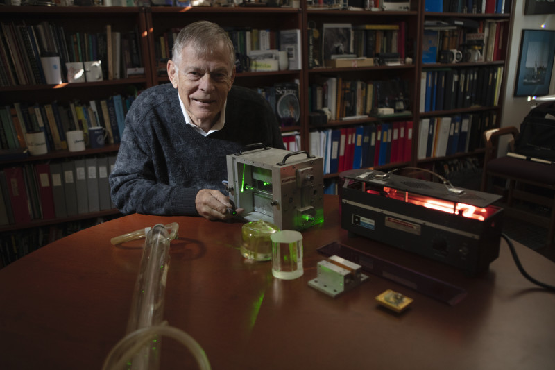 Robert Byer developed the first visible, tunable red laser by routing a green la