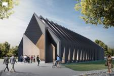 View of the Longhouse Northwest Elevation Image: MIT Mass Timber Design