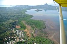 Microlight view of the mangrove in the bay of Bouéni, Mayotte. Between the lagoo