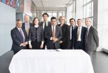 Representatives from U-M and Sun Pharma Advanced Research Company (SPARC) sign a