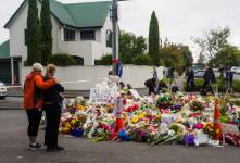 Mourners leave flowers for mosque shooting victims in Christchurch, New Zealand.