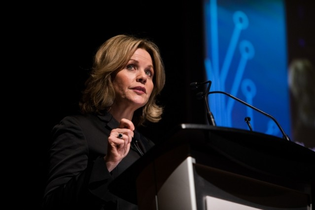 Singer Renée Fleming delivering the Spring 2019 Compton Lecture at MIT's K