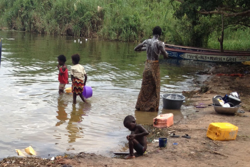 A woman bathes in the Senegal River, while her children play nearby. Common live