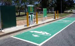 An electric vehicle recharging station in rural Queensland