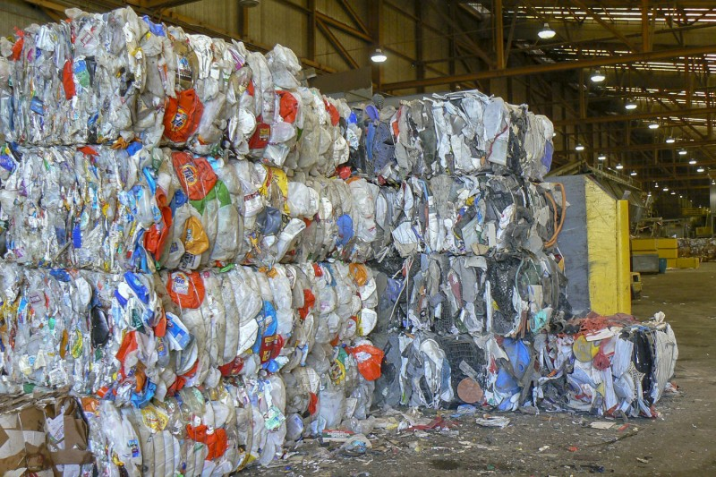 Recycling of conventional plastics, such as these at a waste processing center i