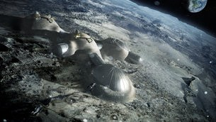 Idea for a future moon base. Lunar caves could also provide shelter for astronau